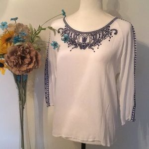 Embroidered Blouse - White with Navy Blue